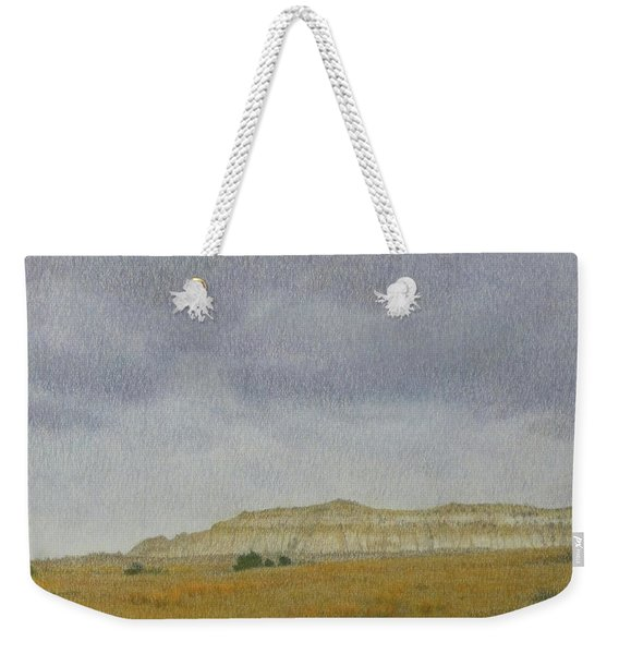 Weekender Tote Bag featuring the pastel April In The Badlands by Cris Fulton