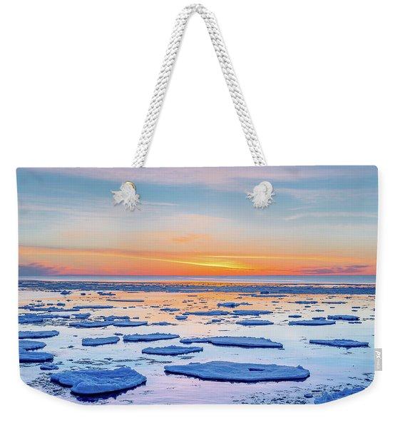 April Sunset Over Lake Superior Weekender Tote Bag