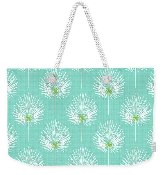 Aqua And White Palm Leaves- Art By Linda Woods Weekender Tote Bag