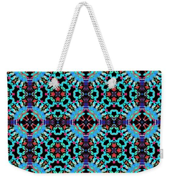 Aqua Geometric Mandala Weekender Tote Bag