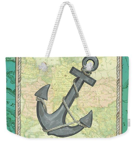 Aqua Maritime Anchor Weekender Tote Bag
