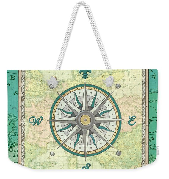 Aqua Maritime Compass Weekender Tote Bag