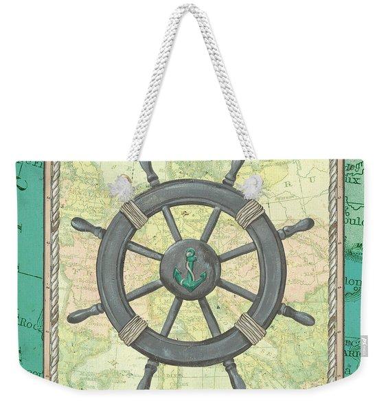 Aqua Maritime Weekender Tote Bag