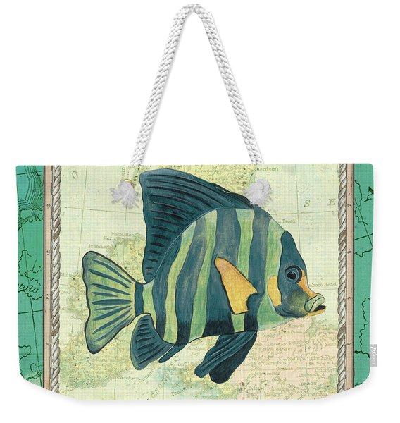 Aqua Maritime Fish Weekender Tote Bag