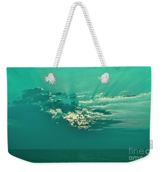 Aqua Sunset Weekender Tote Bag