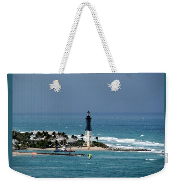 Aqua Water At Hillsboro Lighthouse In Florida Weekender Tote Bag