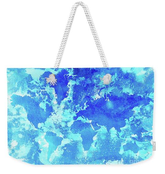 Aqua World Map Weekender Tote Bag
