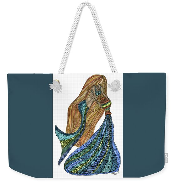 Weekender Tote Bag featuring the drawing Aquarius by Barbara McConoughey
