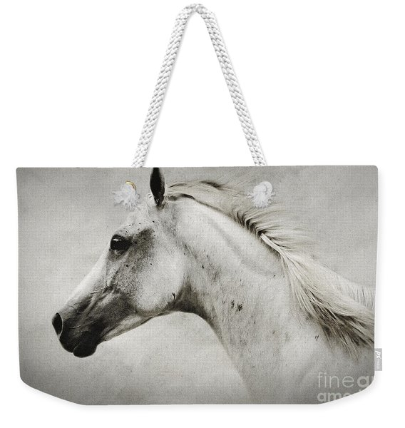 Arabian White Horse Portrait Weekender Tote Bag