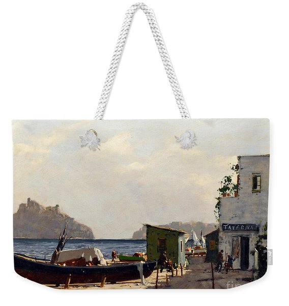 Weekender Tote Bag featuring the painting Aragonese's Castle - Island Of Ischia by Rosario Piazza