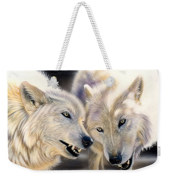 Weekender Tote Bag featuring the painting Arctic Pair by Sandi Baker