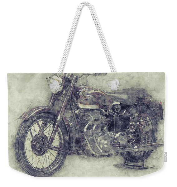 Ariel Square Four 1 - 1931 - Vintage Motorcycle Poster - Automotive Art Weekender Tote Bag