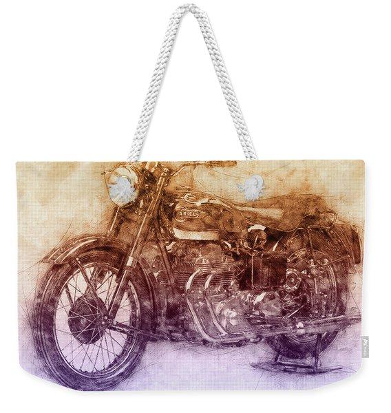 Ariel Square Four 2 - 1931 - Vintage Motorcycle Poster - Automotive Art Weekender Tote Bag
