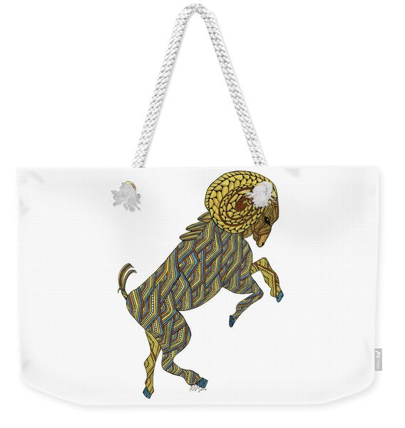 Weekender Tote Bag featuring the drawing Aries by Barbara McConoughey