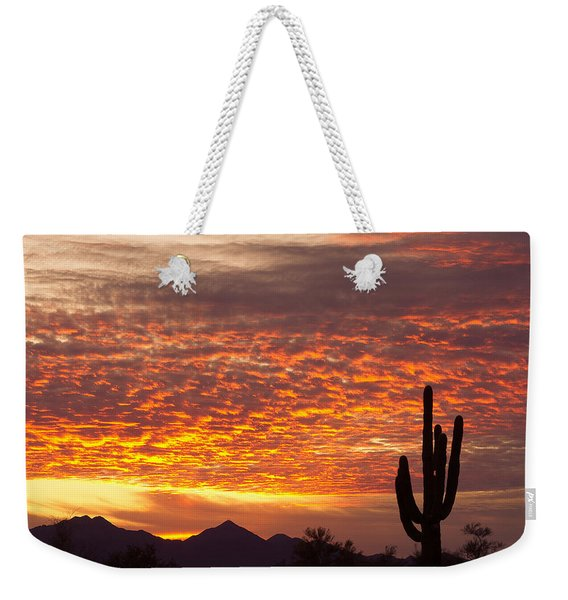 Arizona November Sunrise With Saguaro   Weekender Tote Bag