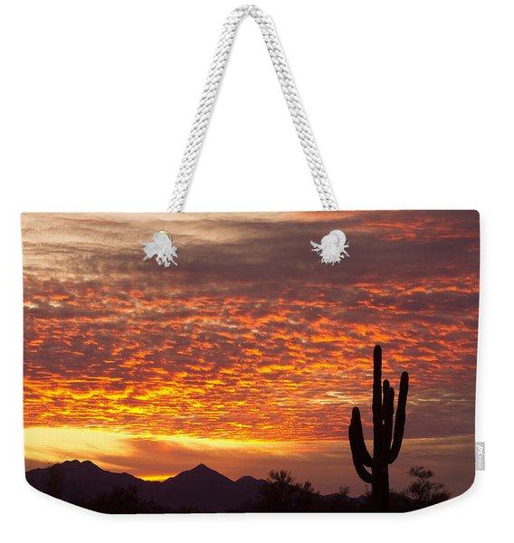 Arizona November Sunrise With Saguaro   Weekender Tote Bag