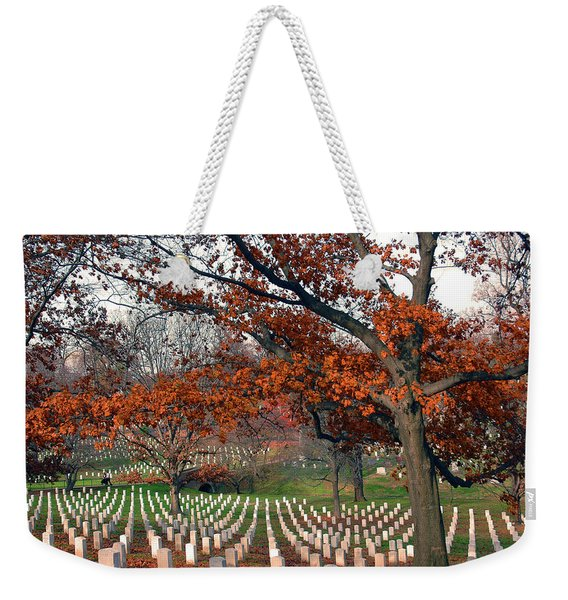 Weekender Tote Bag featuring the photograph Arlington Cemetery In Fall by Carolyn Marshall