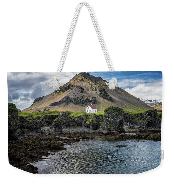 Weekender Tote Bag featuring the photograph Arnarstapi House by Tom Singleton