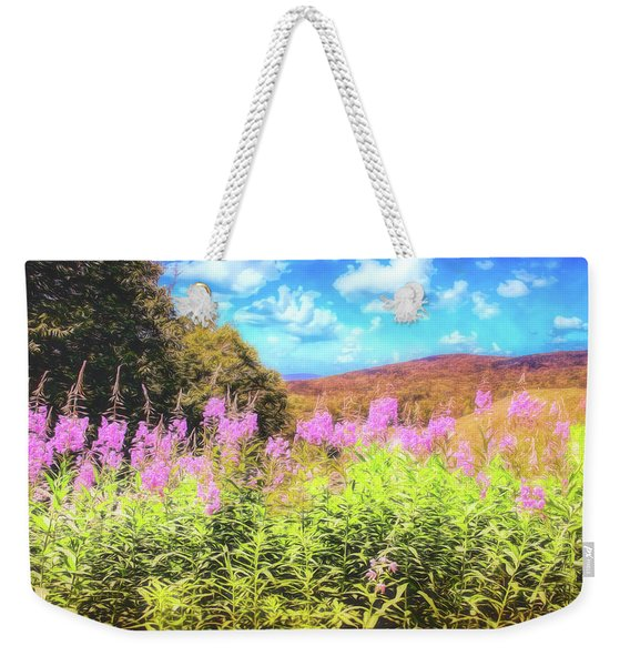 Art Photo Of Vermont Rolling Hills With Pink Flowers In The Foreground Weekender Tote Bag