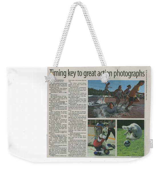 Article On Action Photography Weekender Tote Bag