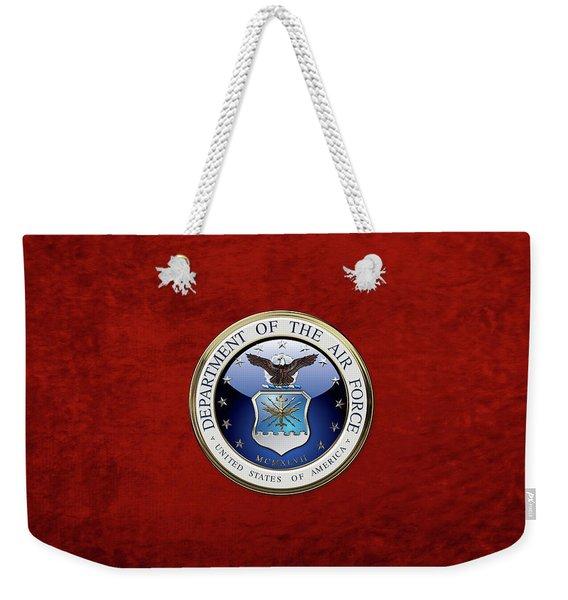 U. S.  Air Force  -  U S A F Emblem Over Red Velvet Weekender Tote Bag