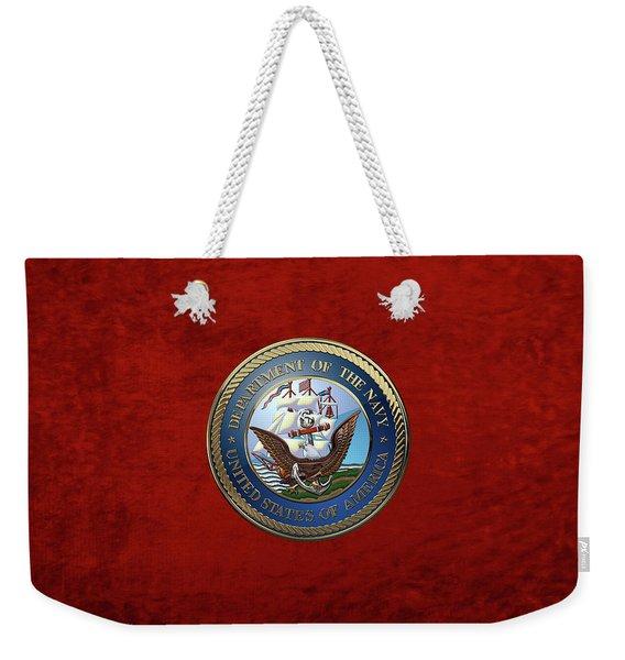 U. S.  Navy  -  U S N Emblem Over Red Velvet Weekender Tote Bag