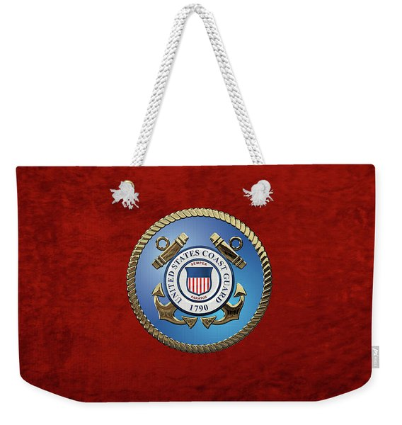 U. S. Coast Guard - U S C G Emblem Weekender Tote Bag