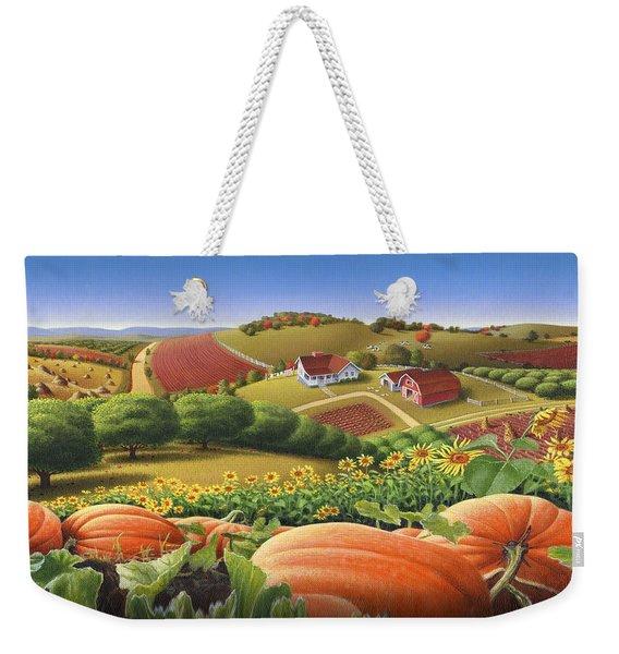 Farm Landscape - Autumn Rural Country Pumpkins Folk Art - Appalachian Americana - Fall Pumpkin Patch Weekender Tote Bag