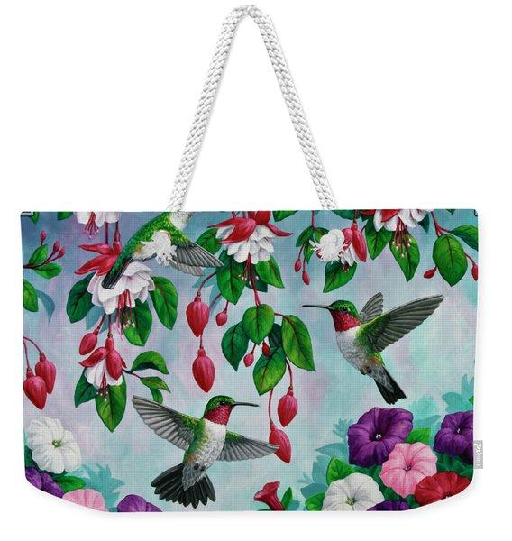 Bird Painting Hummingbird And Spring Flowers Weekender Tote Bag