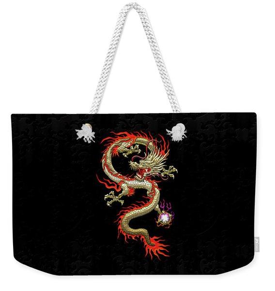 Golden Chinese Dragon Fucanglong On Black Silk Weekender Tote Bag