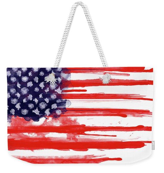 American Spatter Flag Weekender Tote Bag