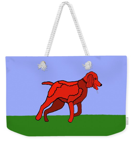Weekender Tote Bag featuring the painting Cartoon Romping Miniature Apricot Poodle by Marian Cates