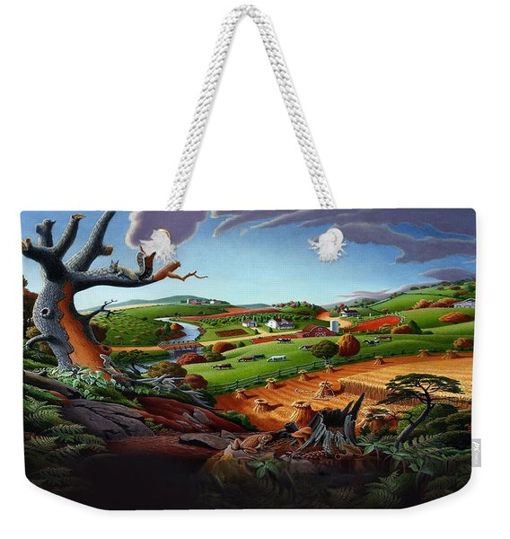 Appalachian Fall Thanksgiving Wheat Field Harvest Farm Landscape Painting - Rural Americana - Autumn Weekender Tote Bag