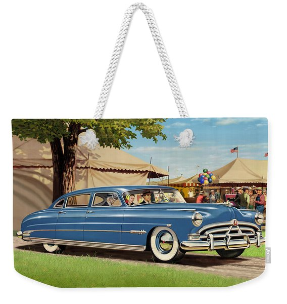 1951 Hudson Hornet Fair Americana Antique Car Auto Nostalgic Rural Country Scene Landscape Painting Weekender Tote Bag