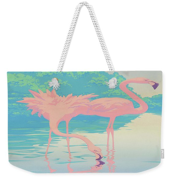 abstract Pink Flamingos retro pop art nouveau tropical bird 80s 1980s florida painting print Weekender Tote Bag