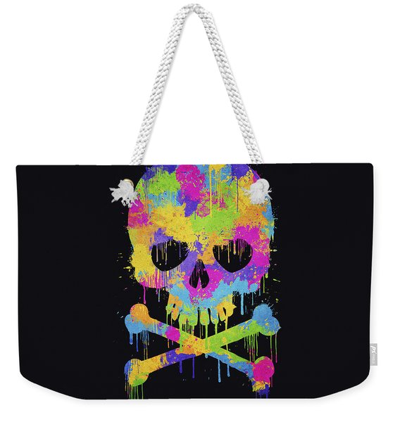 Abstract Trendy Graffiti Watercolor Skull  Weekender Tote Bag