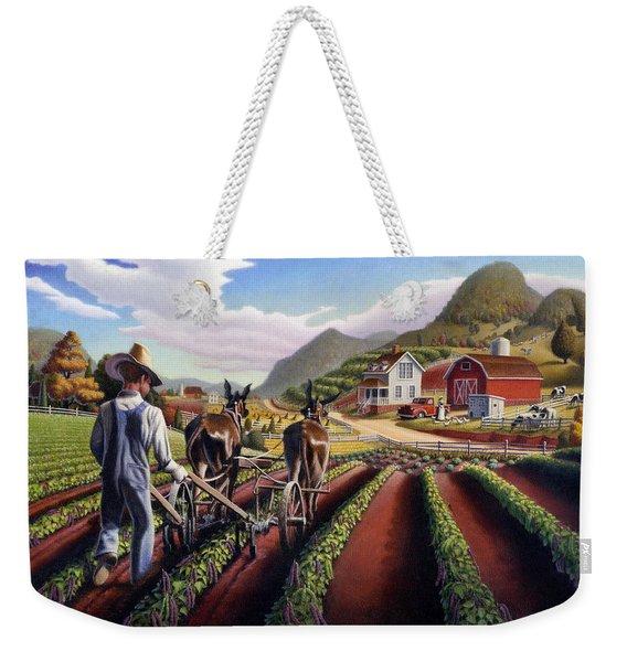 Appalachian Folk Art Summer Farmer Cultivating Peas Farm Farming Landscape Appalachia Americana Weekender Tote Bag
