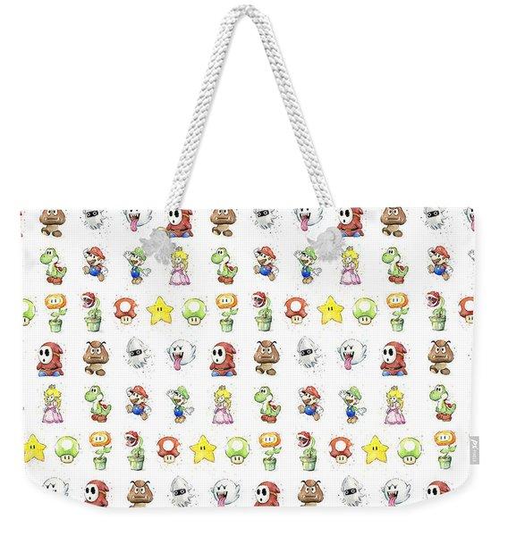 Mario Characters In Watercolor Weekender Tote Bag