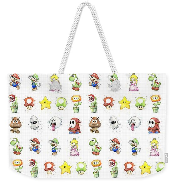 Mario Characters In Watercolor Weekender Tote Bag