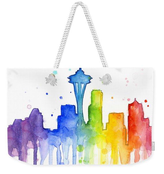 Seattle Rainbow Watercolor Weekender Tote Bag
