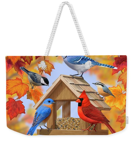 Bird Painting - Autumn Aquaintances Weekender Tote Bag