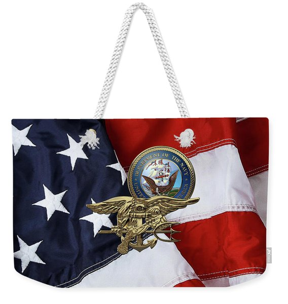 U. S. Navy S E A Ls Trident Over American Flag  Weekender Tote Bag