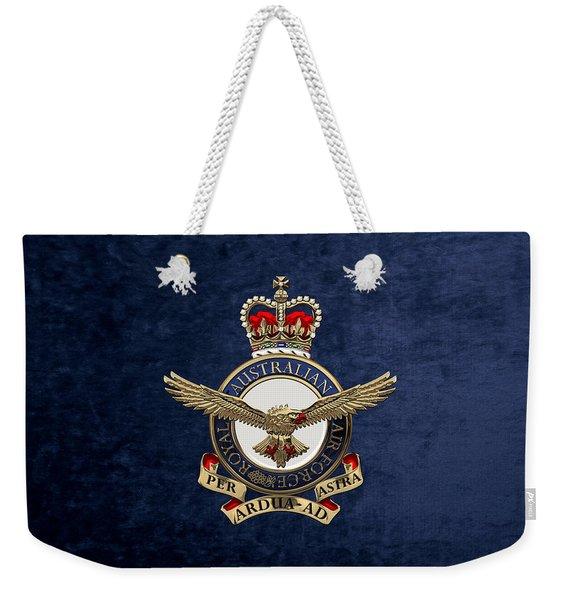 Royal Australian Air Force -  R A A F  Badge Over Blue Velvet Weekender Tote Bag
