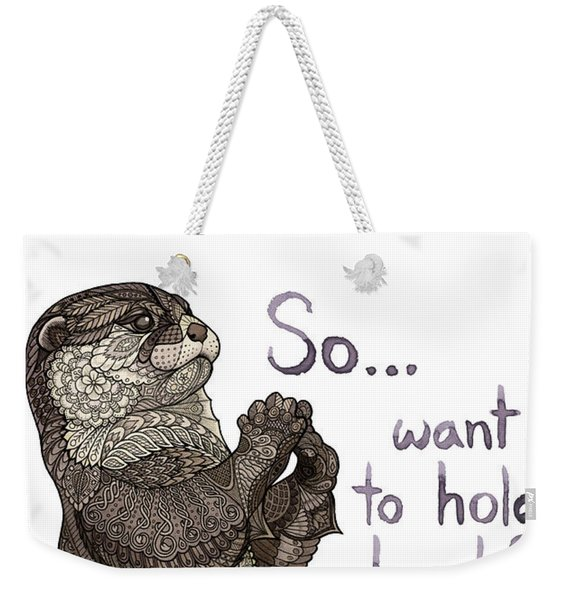 Weekender Tote Bag featuring the drawing Otter Valentine by ZH Field