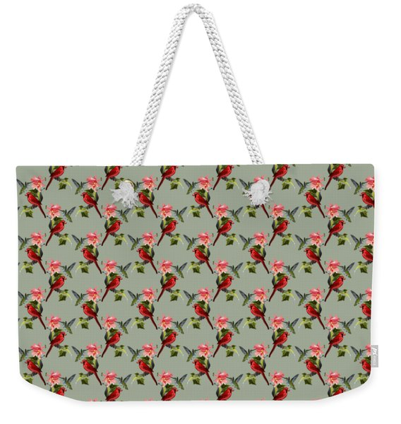 Cardinal On Ivy Branch With Hummingbird And Pink Lily Weekender Tote Bag