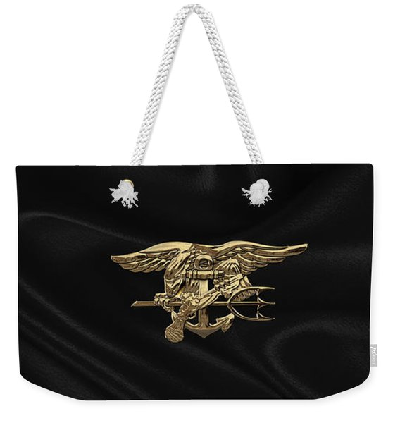 U.s. Navy Seals Trident Over Black Flag Weekender Tote Bag