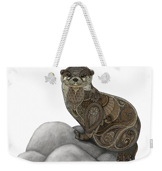 Weekender Tote Bag featuring the drawing Otter Tangle by ZH Field