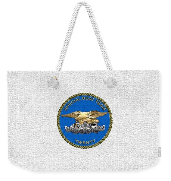 U. S. Navy S W C C - Special Boat Team 20   -  S B T 20   Patch Over White Leather Weekender Tote Bag