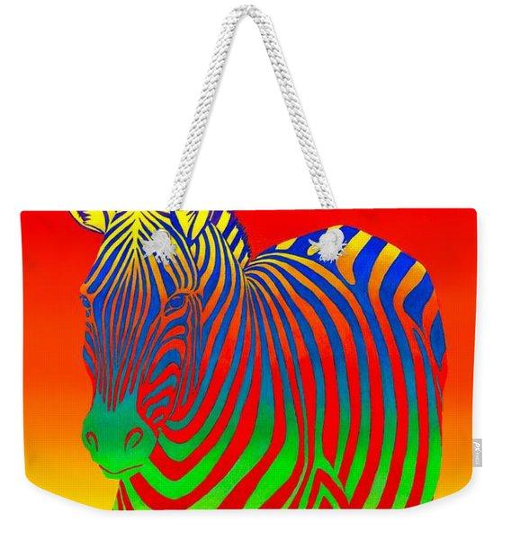 Psychedelic Rainbow Zebra Weekender Tote Bag