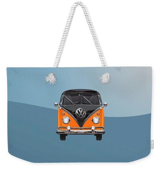 Volkswagen Type 2 - Black And Orange Volkswagen T 1 Samba Bus Over Blue Weekender Tote Bag